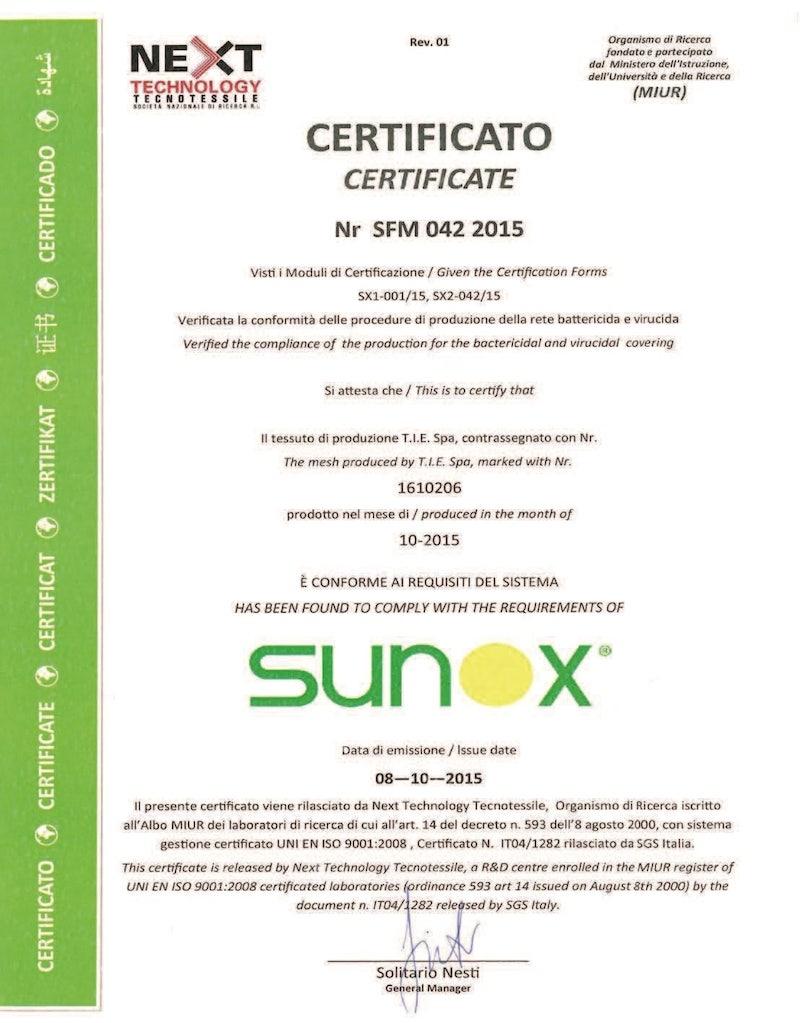 certificado Sunox